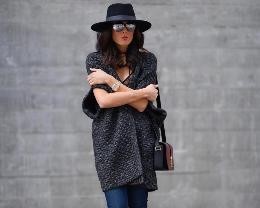 Picture of Wide Brim Wool Hat - Black