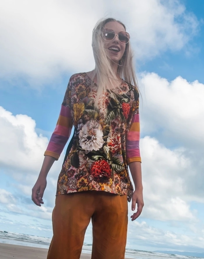 Picture of Sheryl May - Viscose Gold Floral Top