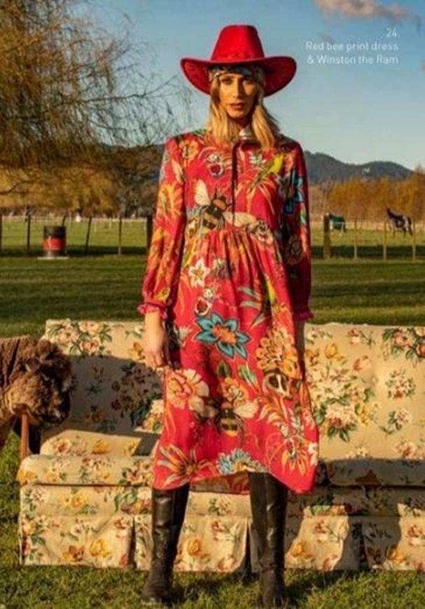 Picture of Sheryl May - Red Bee Print Praire Dress