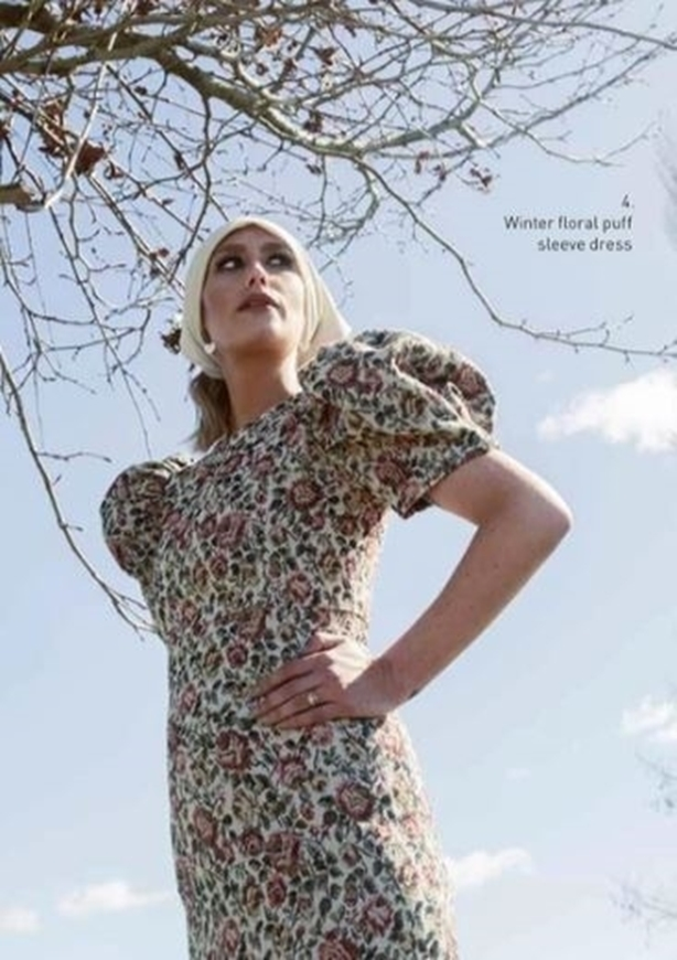 Picture of Sheryl May - Winter Floral Puff Sleeve Dress
