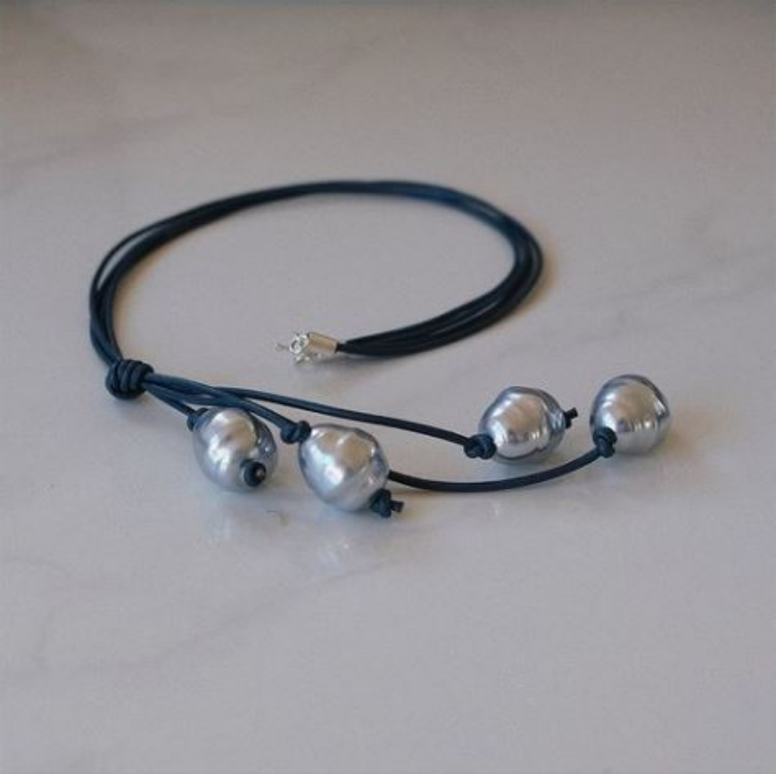 Picture of Bronwen Newport - Silver Spanish Pearl on Navy Leather