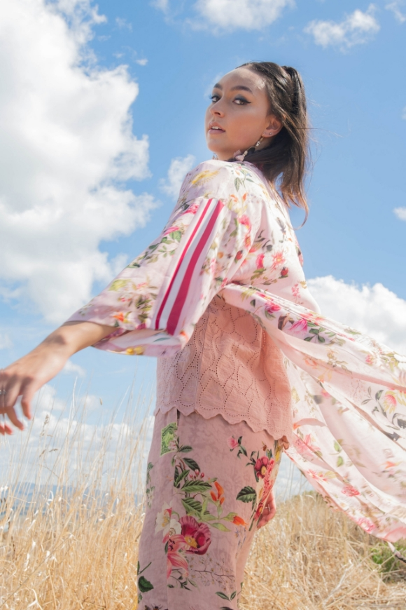 Picture of Sheryl May - Dusty Pink Floral Duster Coat