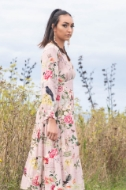 Picture of Sheryl May - Dusty Pink Floral Long Prairie Dress